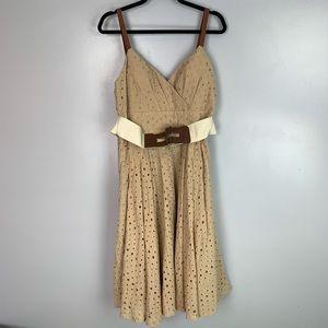 Venus fit & flare eyelet belted dress